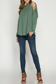 She + Sky Cactus Green Knit-Top - Side cropped
