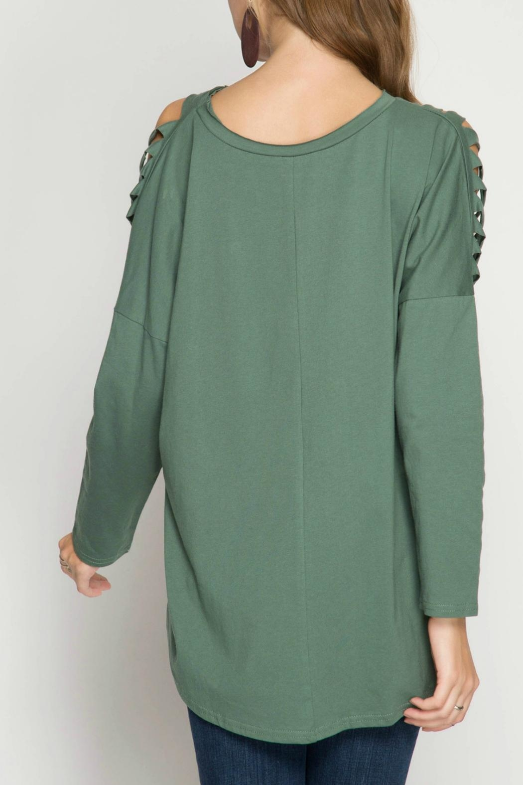 She + Sky Cactus Green Knit-Top - Front Full Image