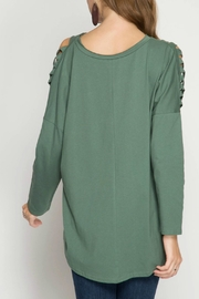 She + Sky Cactus Green Knit-Top - Front full body