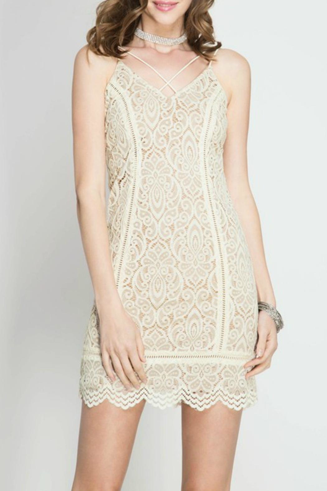 She + Sky Cami Lace Dress - Front Cropped Image
