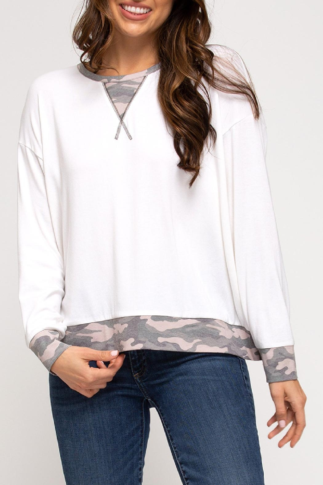 She + Sky Camo Trim Top - Front Cropped Image
