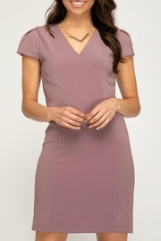 She + Sky Capsleeve Fitted Dress - Front cropped