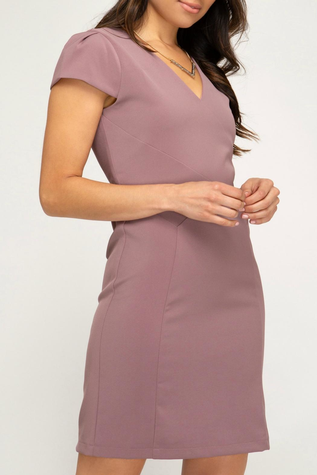 She + Sky Capsleeve Fitted Dress - Side Cropped Image