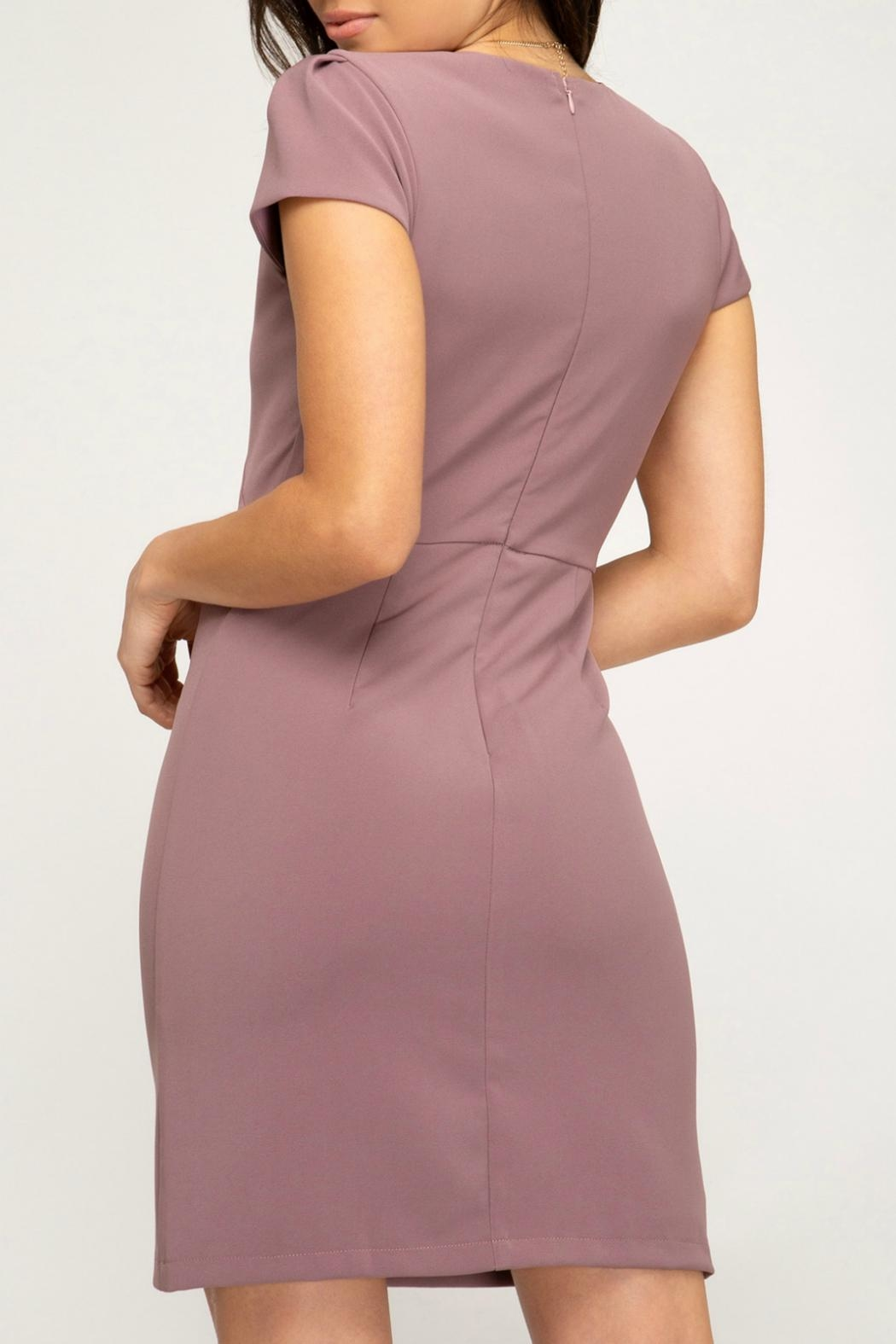 She + Sky Capsleeve Fitted Dress - Front Full Image
