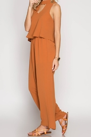 She + Sky Caramel Jumpsuit - Front full body