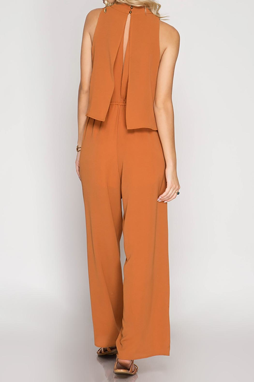 She + Sky Caramel Jumpsuit - Side Cropped Image