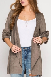 She + Sky Cascade Faux Suede Jacket - Front cropped