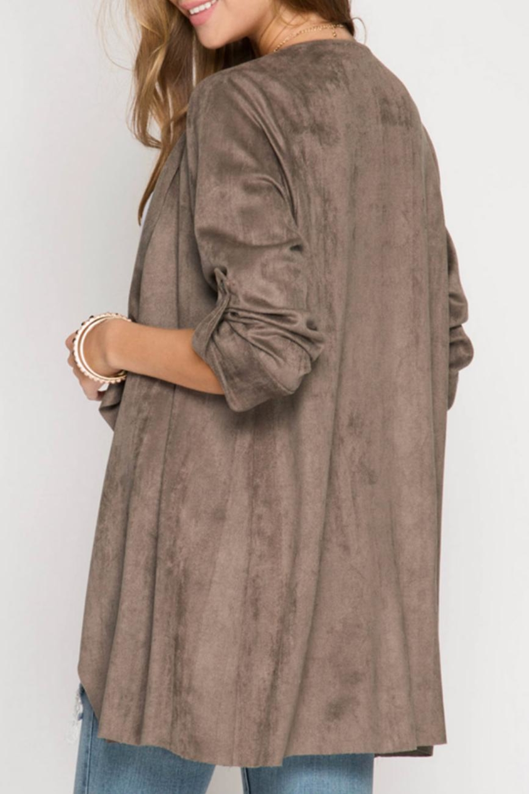 She + Sky Cascade Faux Suede Jacket - Front Full Image