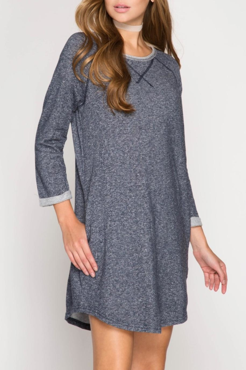 She + Sky Casual Pocket Dress - Front Cropped Image