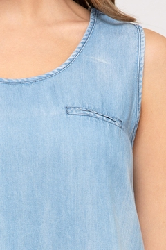 She + Sky Chambray Pocket Tank - Alternate List Image
