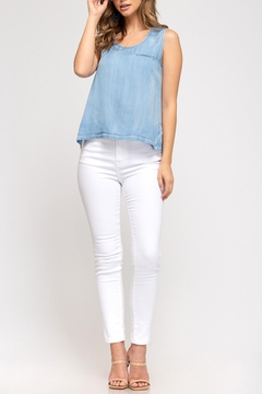 She + Sky Chambray Pocket Tank - Product List Image