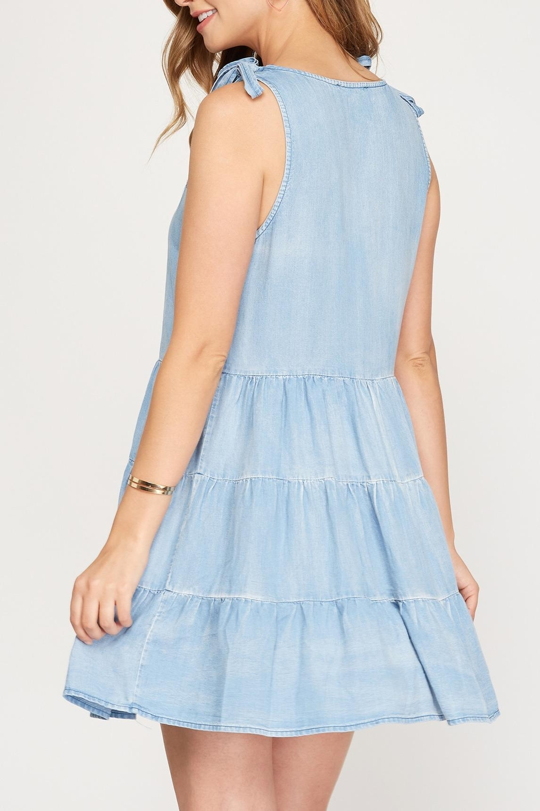 She + Sky Chambray Shoulder Tie Dress - Front Full Image