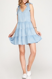 She + Sky Chambray Shoulder Tie Dress - Front cropped