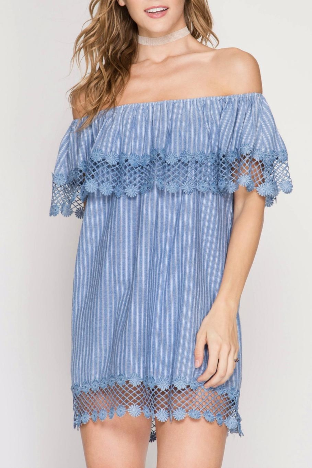 She + Sky Chambray Stripe Dress - Front Cropped Image