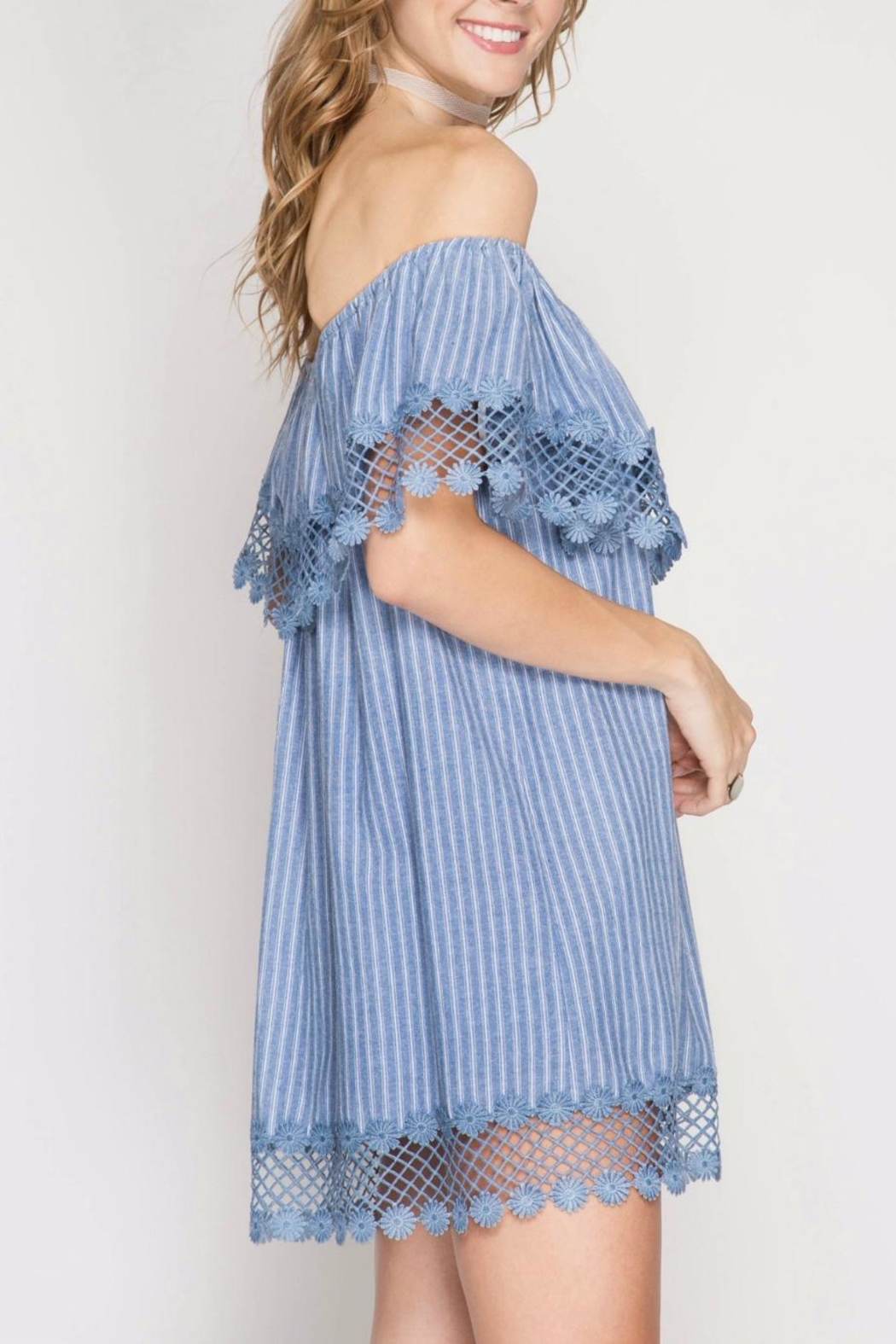 She + Sky Chambray Stripe Dress - Front Full Image