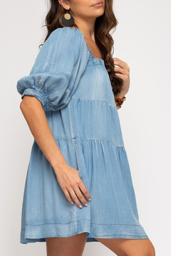 She + Sky Chambray Tiered Dress - Alternate List Image