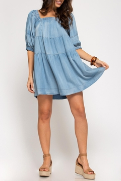 She + Sky Chambray Tiered Dress - Product List Image
