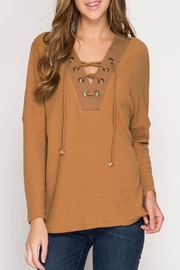 She + Sky Charlotte Top Caramel - Product Mini Image