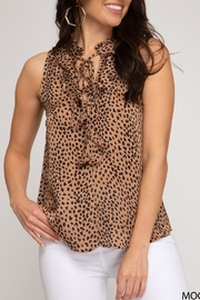 She + Sky Cheetah Ruffle Tank - Product Mini Image