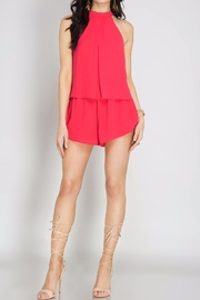 She + Sky Cherry Pink Romper - Front cropped