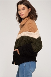 She + Sky Chevron Fuzzy Jacket - Front full body