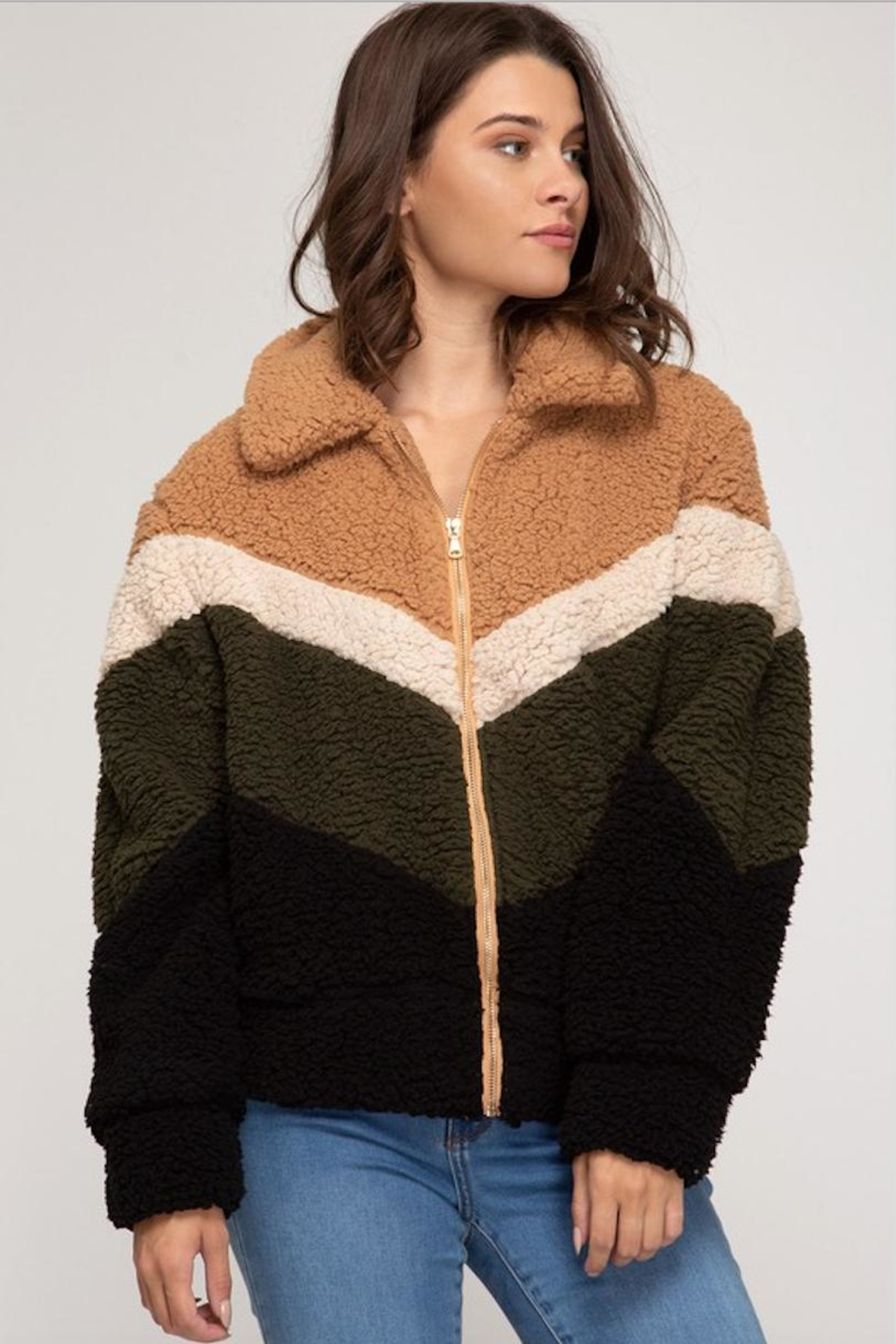 She + Sky Chevron Fuzzy Jacket - Front Cropped Image