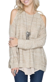She + Sky Chiffon Trimmed Sweater - Product Mini Image