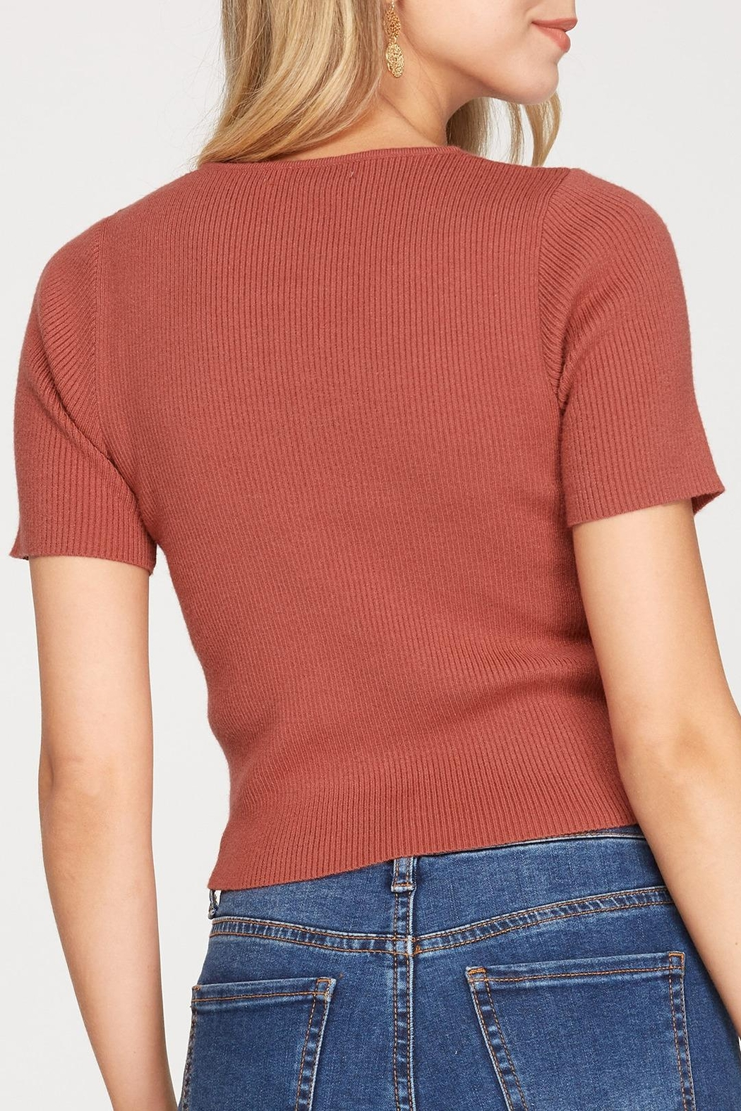 She + Sky Cinched Knit Top - Front Full Image