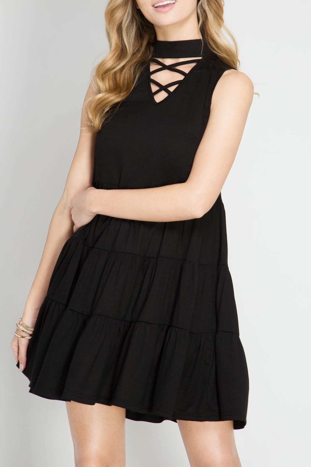 She + Sky Crisscross Spaghetti Dress - Front Cropped Image