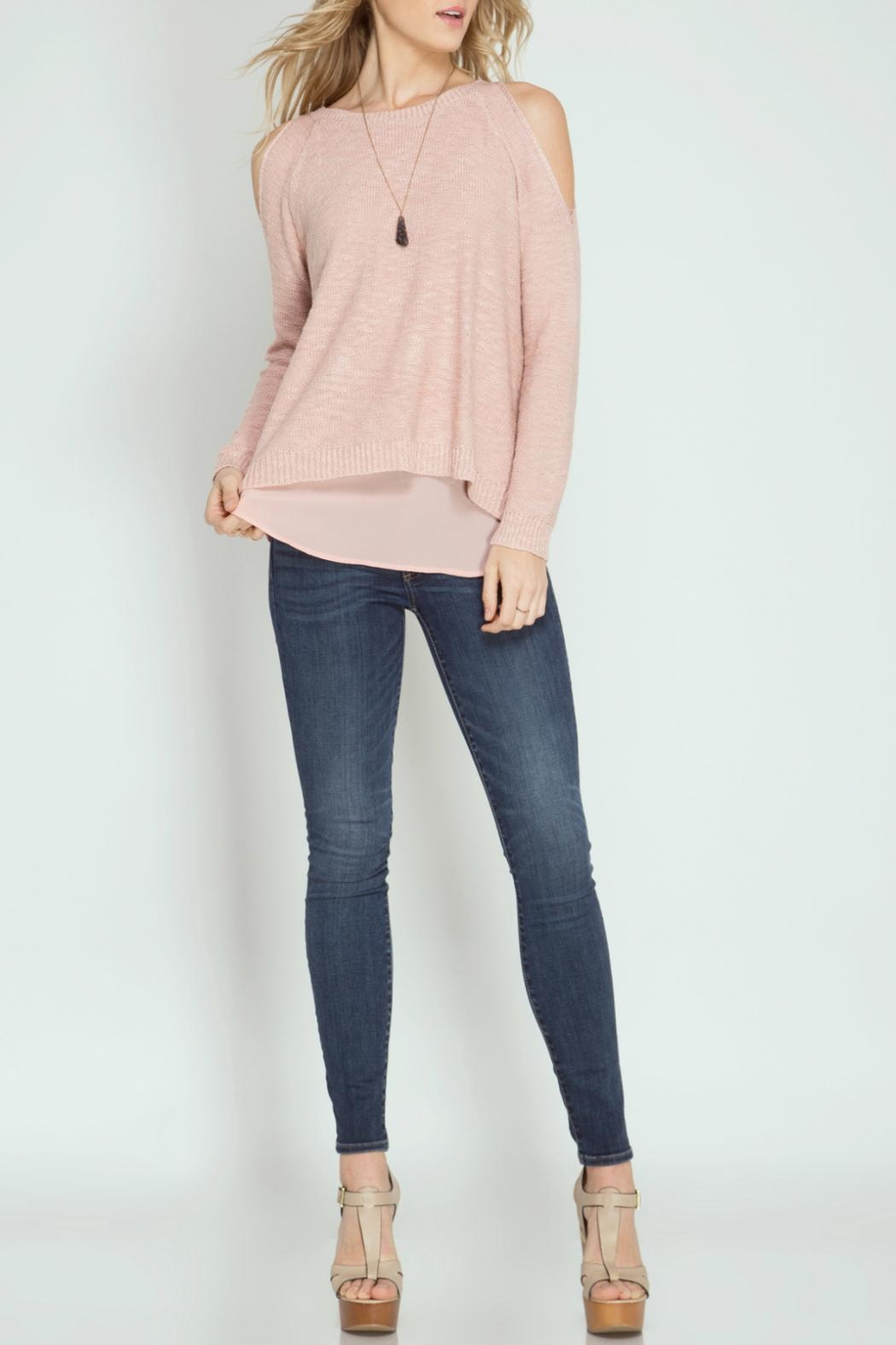 She + Sky Cod Shoulder Sweater - Front Cropped Image
