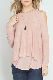 She + Sky Cod Shoulder Sweater - Front full body