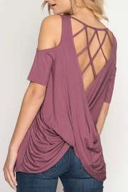 She + Sky Cold-Shoulder Cris-Cross Top - Front full body
