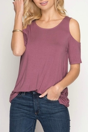 She + Sky Cold-Shoulder Cris-Cross Top - Front cropped