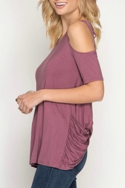 She + Sky Cold-Shoulder Cris-Cross Top - Back cropped