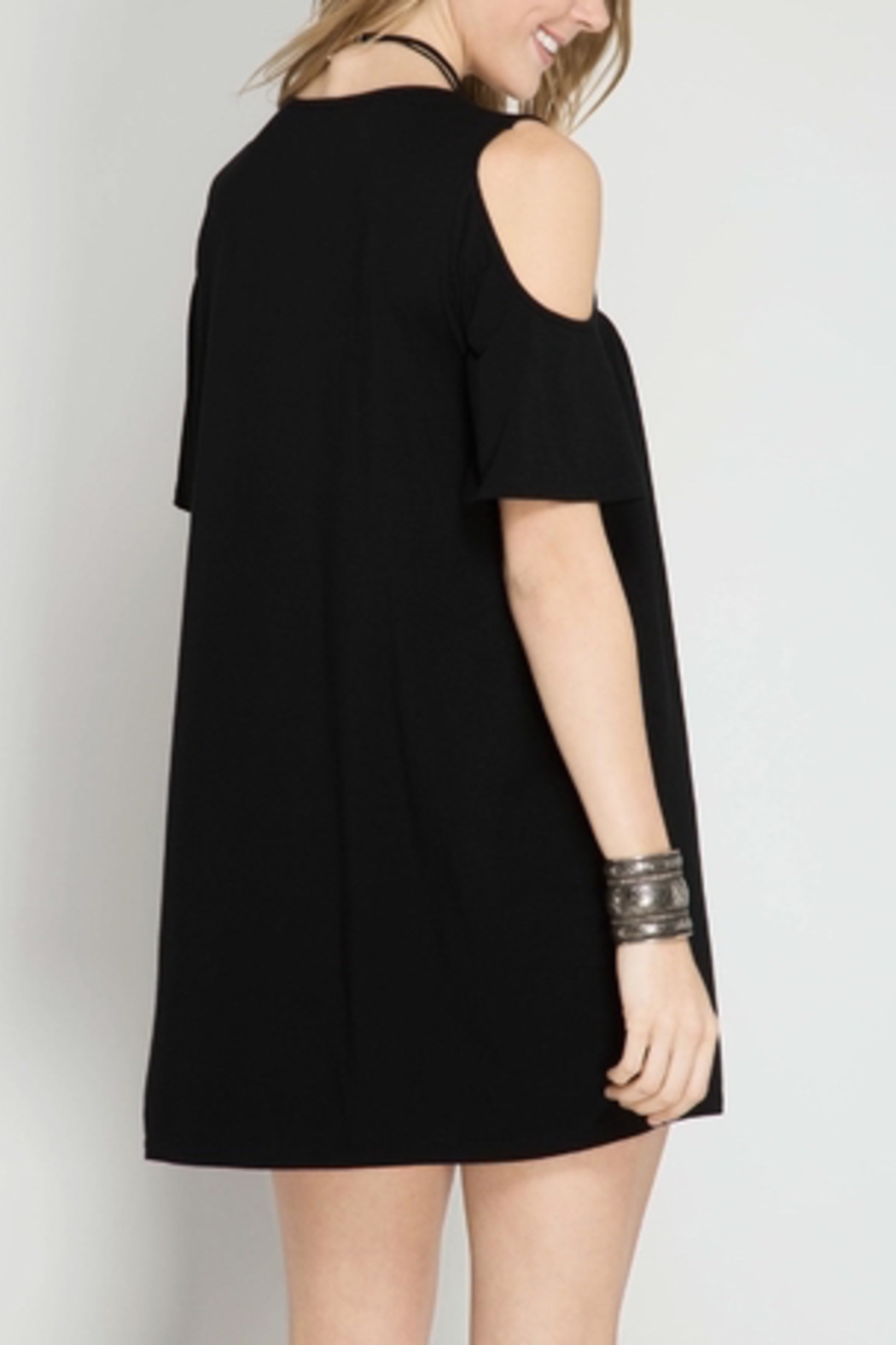 She + Sky Cold Shoulder Dress - Front Full Image