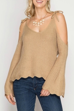 Shoptiques Product: Cold Shoulder Scallop Sweater