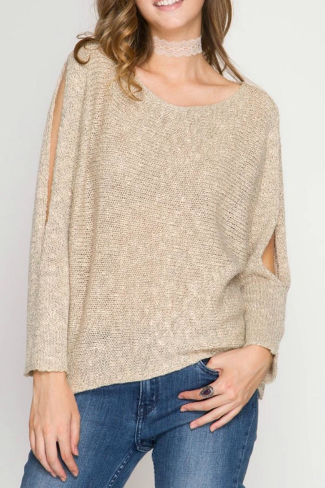She + Sky Cold Shoulder Sweater - Main Image