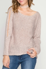 She + Sky Cold Shoulder Sweater - Front cropped