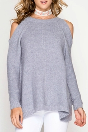 She + Sky Cold Shoulder Sweater - Product Mini Image