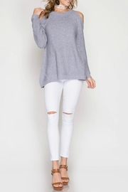 She + Sky Ribbed Cold Shoulder Sweater - Product Mini Image