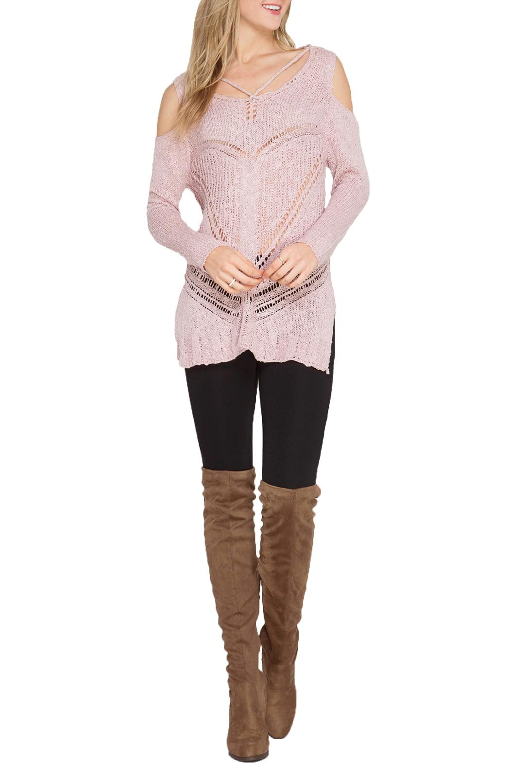 She + Sky Cold Shoulder Sweater - Front Cropped Image