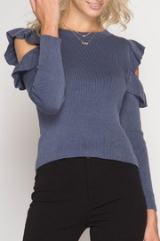 She + Sky Cold Shoulder Sweater Top - Product Mini Image