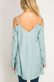 She + Sky Cold Shoulder Waffle Top - Front full body