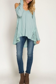 She + Sky Cold Shoulder Waffle Top - Product Mini Image