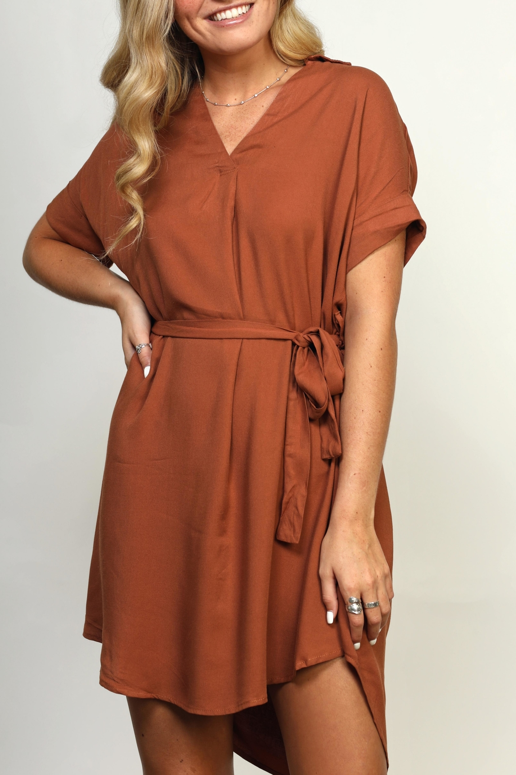 She + Sky Collared High-Low Dress - Front Full Image