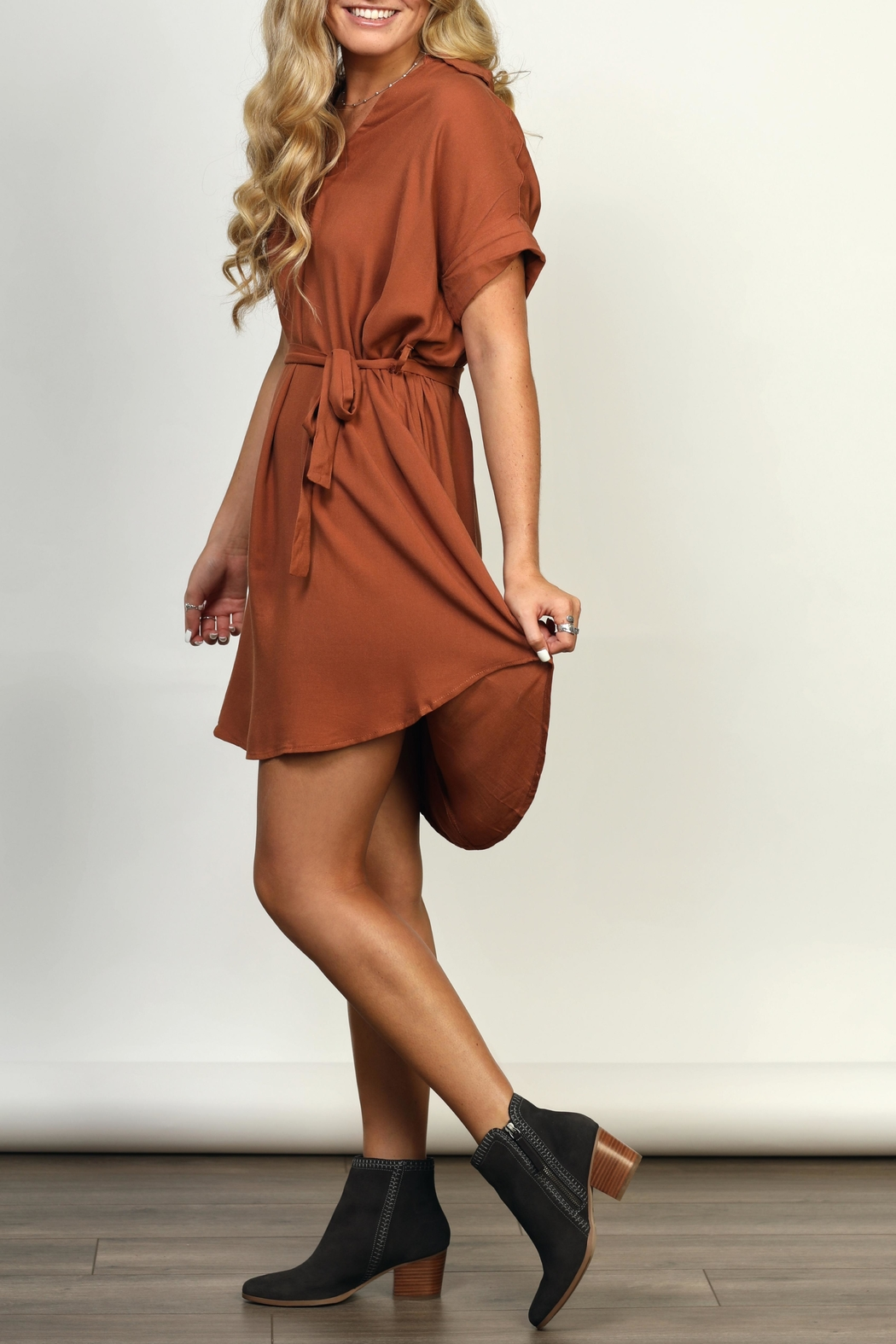 She + Sky Collared High-Low Dress - Back Cropped Image