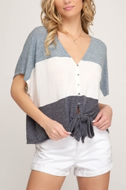 She + Sky Color-Block Front-Tie Top - Product Mini Image