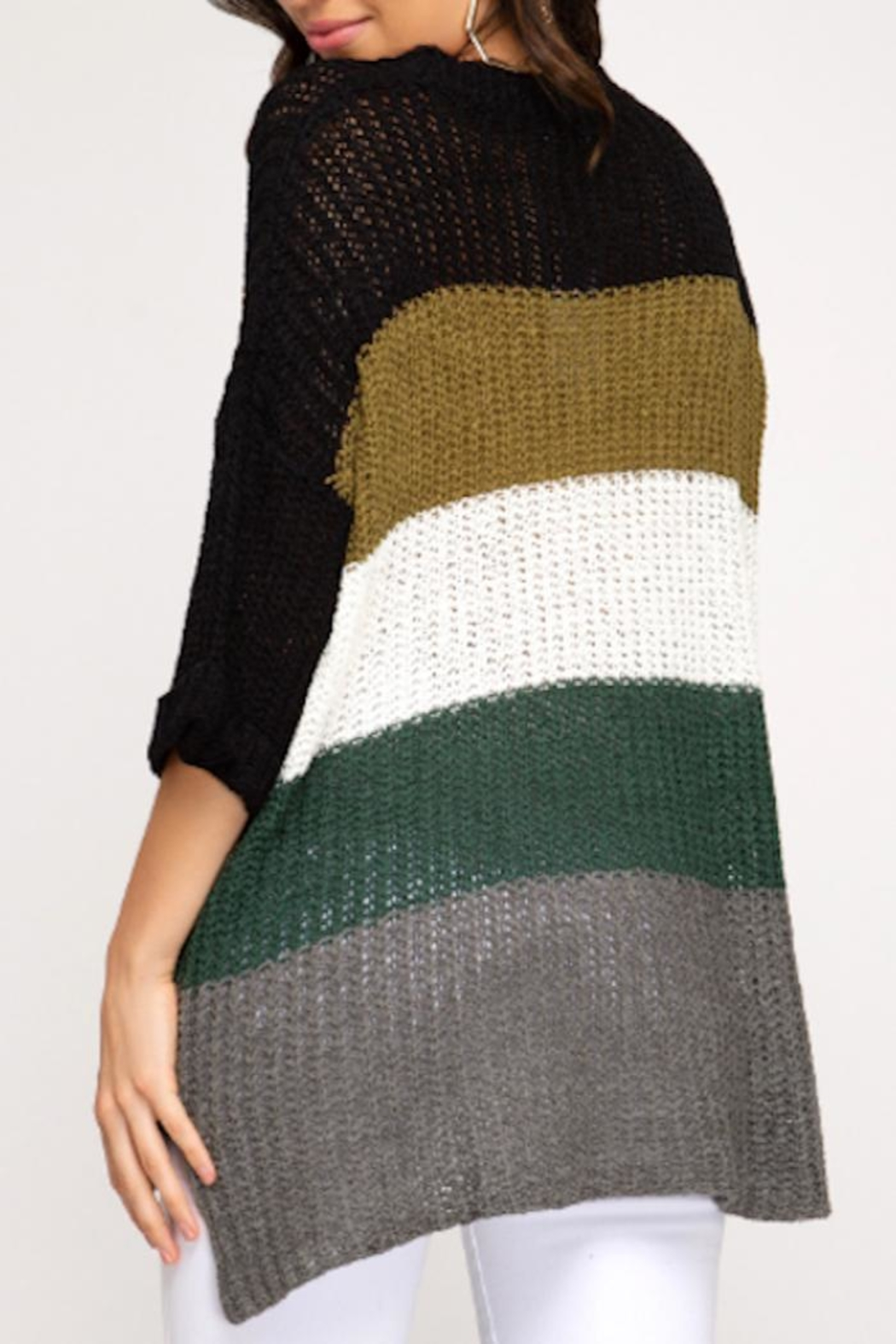 She + Sky Color Block Sweater - Front Full Image