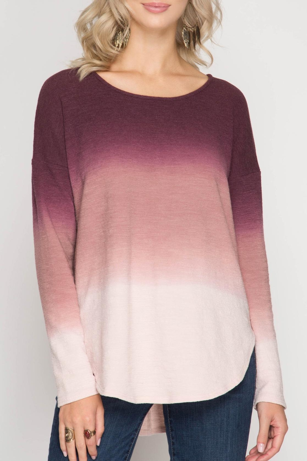 She + Sky Color Stack Shirt - Front Cropped Image