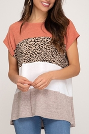 She + Sky Colorblack Leopard Top - Product Mini Image